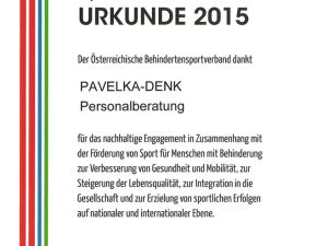 Sponsorenurkunde 2015: Österreichischer Behindertensportverband