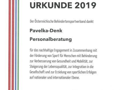 Unterstützung des Österreichischen Behindertensportverband
